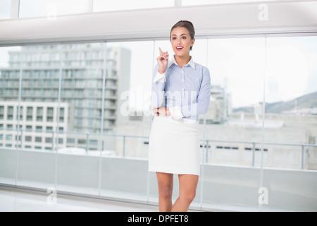 Pretty brunette businesswoman having an idea - Stock Photo