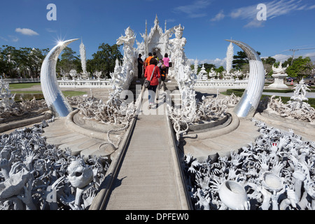 Entrance to the Wat Rong Khun (White Temple), Chiang Rai, Northern Thailand, Thailand, Southeast Asia, Asia - Stock Photo
