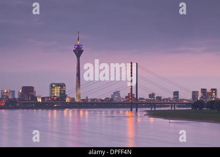 The Dusseldorf skyline at dusk, Dusseldorf, North Rhine-Westphalia, Germany, Europe - Stock Photo