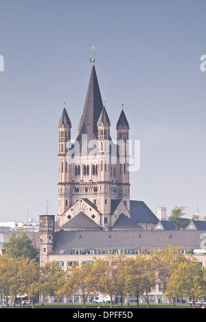 The tower of The Great Saint Martin church, Cologne, North Rhine-Westphalia, Germany, Europe - Stock Photo