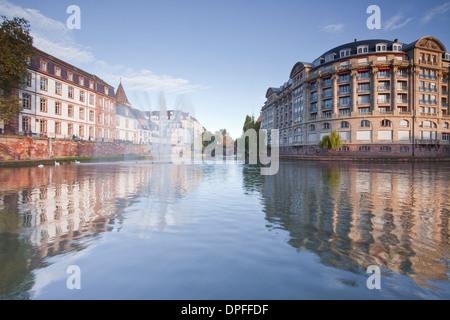 Quai Saint Etienne and the River Ill, Strasbourg, Bas-Rhin, Alsace, France, Europe - Stock Photo