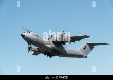Airbus A400M Atlas F-WWMZ displays at RAF Fairford airbase in Gloucestershire England at the 2013 RIAT - Stock Photo