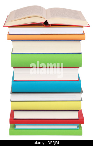 Opened book on a stack of books, isolated on white - Stock Photo