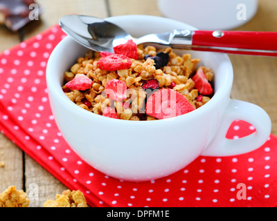 Breakfast cereal with dried fruits, food closeup - Stock Photo