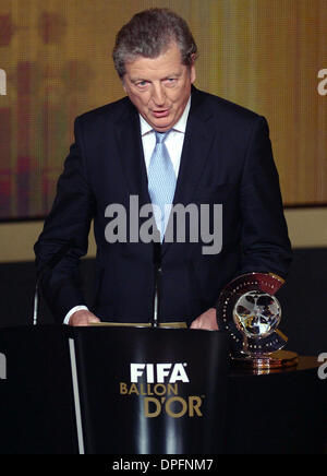 Zurich, Switzerland. 13th Jan, 2014. England manager Roy Hodgson speaks during the FIFA Ballon d'Or Gala 2013 held - Stock Photo