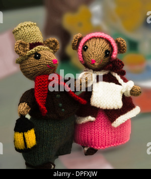 Mr & Mrs mouse knitted toys - Stock Photo