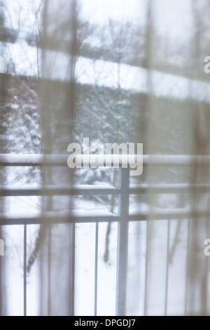 Snowy Winter in a Window. Look from Inside - Stock Photo