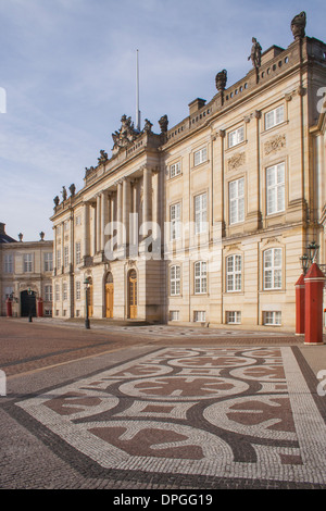 Christian VIII's Palace, also known as Levetzau's Palace, at Amalienborg, Copenhagen, Denmark - Stock Photo