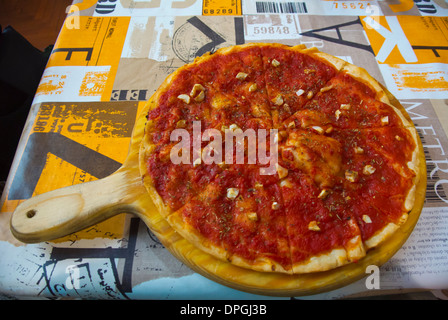 Pizza Rosso or Marinara with tomato sauce and garlic Pisa city Tuscany region Italy Europe - Stock Photo