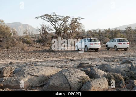 SUVs parked in desert terrain - Stock Photo