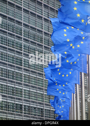 EU flags flying, in front of the European Commission buildings in Brussels, Belgium. - Stock Photo