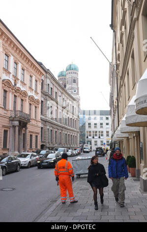 View of the Kardinal-Faulhaber-Street in Munich in December 2013. - Stock Photo