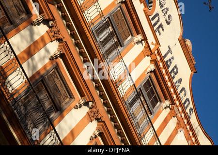 Cigar factory among the run down colonial period buildings in Habana Vieja, Old Havana, Cuba - Stock Photo