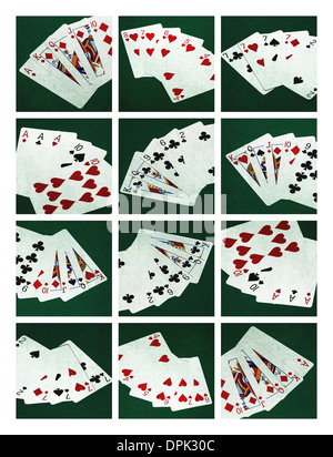 Collage - Card Of Poker Hands 1. Collage of twelve photographs of six standard poker hands - Stock Photo