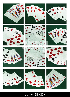 Collage - Card Of Poker Hands 2. Collage of twelve photographs of five standard poker hands - Stock Photo