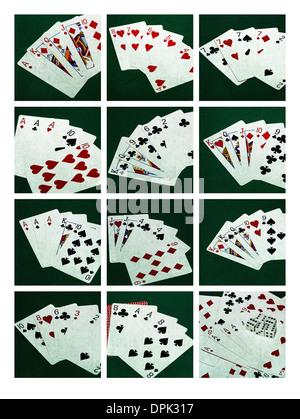 Collage Poker Hands 1. Collage of twelve photos of ten standard poker hands, plus dead man's hand - Stock Photo