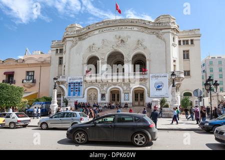 TUNIS CITY, TUNISIA - CIRCA MAY, 2012: Tunisian National Theatre is in the center on the main Avenue Habib Bourguiba. - Stock Photo