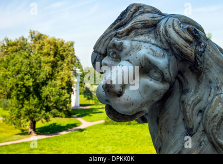 A lion figure in the Pavlovsk Park, Pavlovsk, near St Petersburg, Russia - Stock Photo