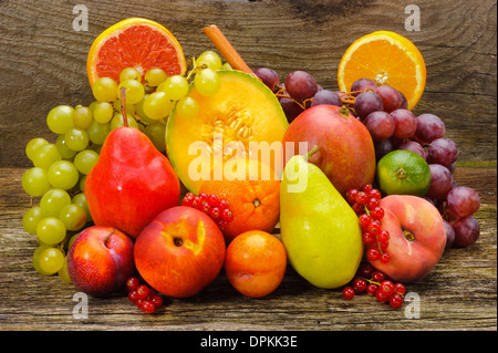 group of fresh mixed fruits - Stock Photo