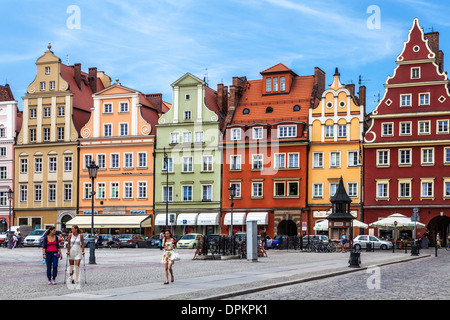 Colourful medieval houses in Wroclaw's old town Market Square or Rynek. - Stock Photo