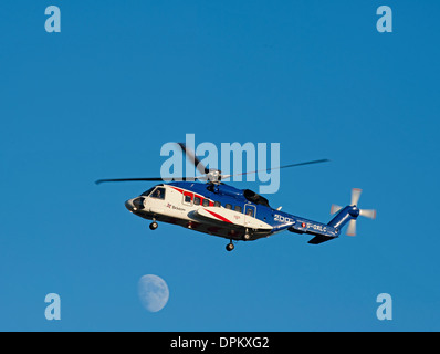 Bristow Helicopter G-GALC Sikorsky S92 approaching Aberdeen Airport. - Stock Photo