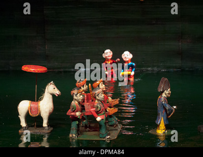 Traditional Vietnamese water puppets at the Thang Long Water Puppet Theatre in Hanoi, Vietnam. - Stock Photo