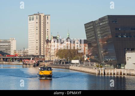 Black Diamond Building of the Royal Danish Library, Copenhagen, Denmark - Stock Photo