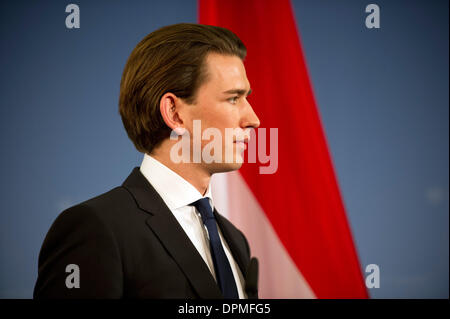 Berlin, Germany. 15th Jan, 2014. Austrian Foreign Minister Sebastian Kurz holds a joint press conference in Berlin, - Stock Photo