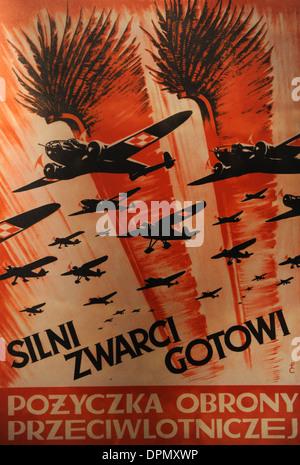 World War II. Propaganda Poster of the Polish Air Force, 1939. Oskar Schlinder Museum. Krakow. Poland. - Stock Photo