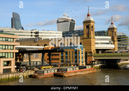 London, England, UK. Cannon Street Station and Railway Bridge over the River Thames - Stock Photo