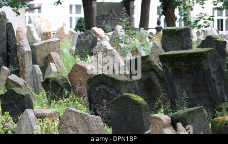 Czech Republic. Prague. Old Jewish Cemetery. Was in use from early 15th century until 1787. Gravestones. - Stock Photo