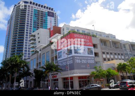Miami Florida Midtown The Shops at Midtown high rise condominium building sale billboard advertising - Stock Photo