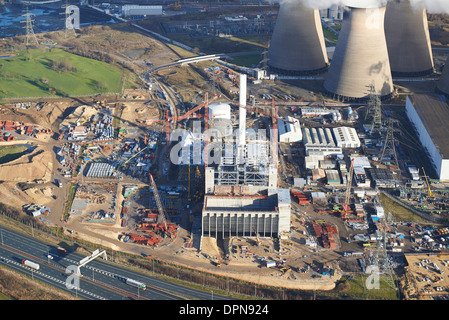An aerial view of Ferrybridge Power Station,West Yorkshire, UK, showing the new multi fuel power plant under construction - Stock Photo