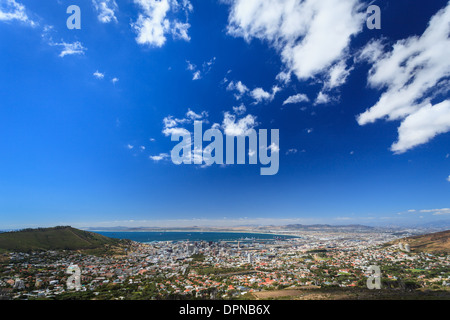 Aerial view of the urban sprawl surrounding city of Cape Town South Africa - Stock Photo