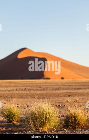 Red sand dunes dominate arid desert landscape in Namib-Naukluft National Park, Namibia - Stock Photo