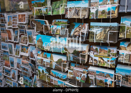 Tourist postcards on display in Oxford city centre UK - Stock Photo