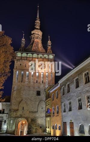 The clock tower in Sighisoara, Transylvania Romania - Stock Photo