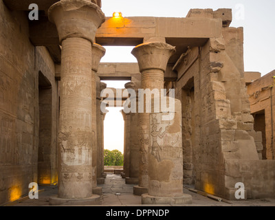 Kom Ombo temple on the upper River Nile at sunset - Stock Photo