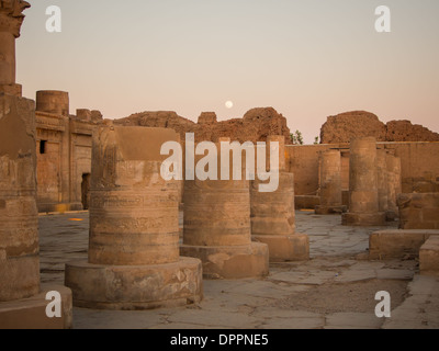Sunset at Kom Ombo temple on the upper River Nile, Egypt - Stock Photo