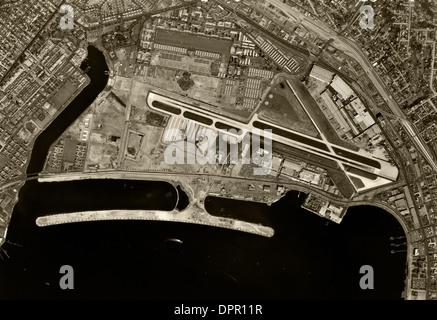 historical aerial photograph San Diego International Airport, Lindbergh Field, California, 1966 - Stock Photo