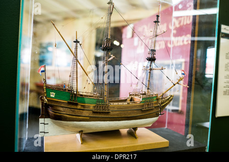 USHUAIA, Argentina - One of many precisely built model ships on display at the Maritime Museum of Ushuaia (Museo - Stock Photo