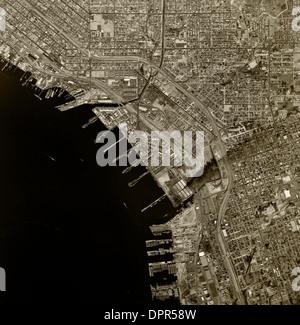 historical aerial photograph National City, San Diego county, California, 1966 - Stock Photo