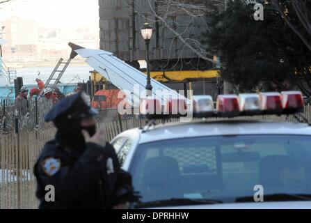 Jan 16, 2009 - Manhattan, New York, USA - The tail of a US Airways plane that crash landed in the Hudson River yesterday - Stock Photo