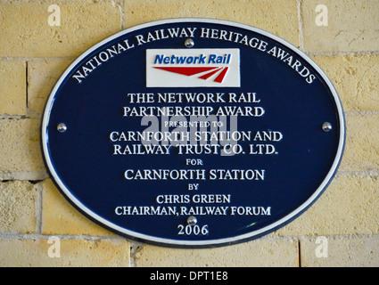 National Railway Heritage Award plaque. Rail Station, Carnforth, Lancashire, England, United Kingdom, Europe. - Stock Photo