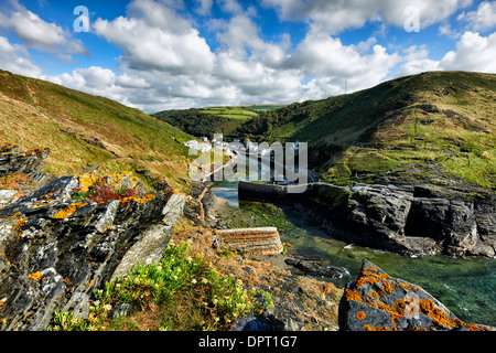 View toward the steep sided valley of Boscastle and harbour entrance - Stock Photo