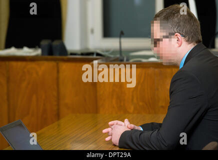 Braunschweig, Germany. 16th Jan, 2014. Defendant Jan Michael T. sits in the courtroom of the Regional Court in Braunschweig, - Stock Photo