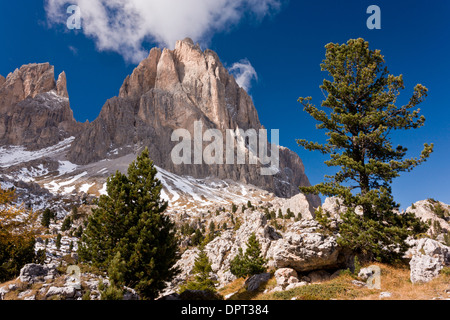 View up towards the Sassolungo group of mountains from the Sella Pass, across the 'stone city' in autumn; Dolomites - Stock Photo