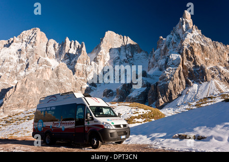 Zero emission hydrogen fuel cell vehicle parked below the Cimon della Pala, Dolomites, north Italy. - Stock Photo