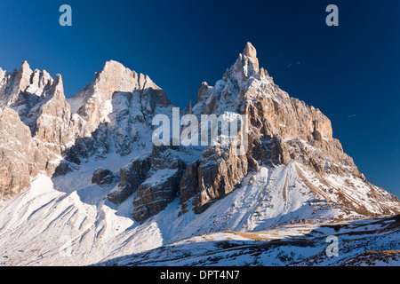Mountains above the Rolle Pass, the Cimon della Pala, in autumn after early snow; Dolomites, north Italy. - Stock Photo