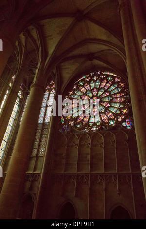 Famous old stained glass windows, inside the 11th century church, La basilique Saint-Nazaire, Carcassonne, France - Stock Photo